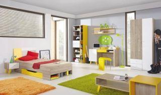 Detská izba Sajmon A červený smrek/biela/žltá