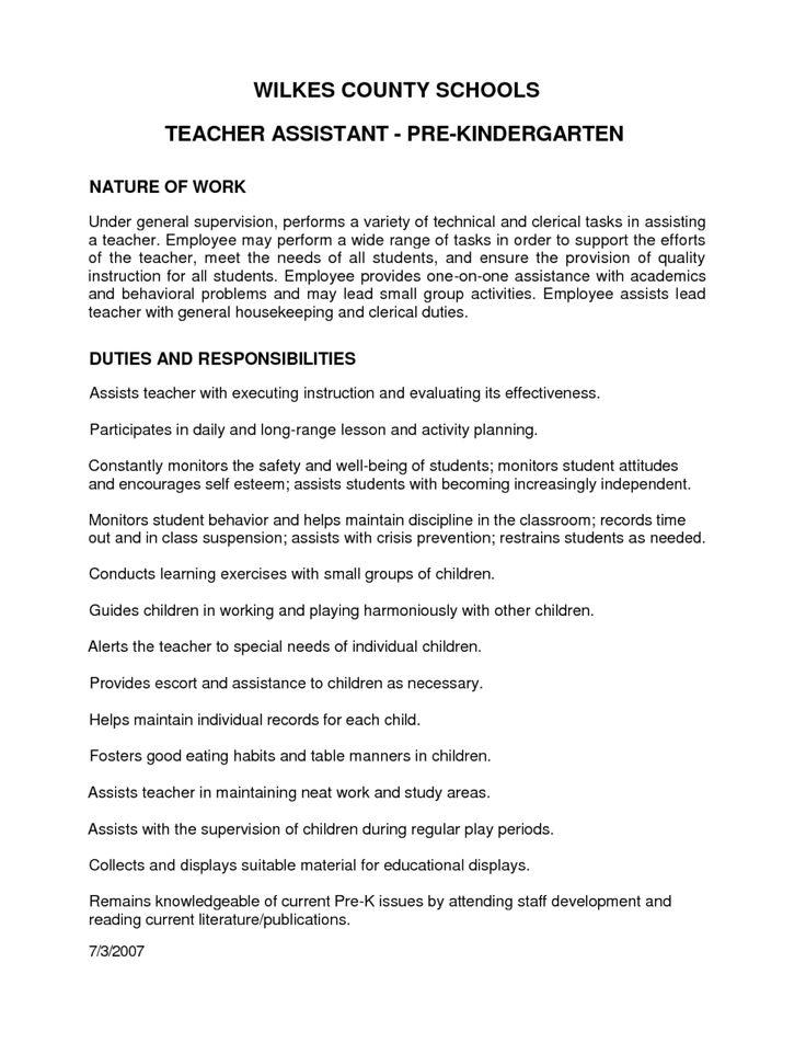 letter recommendation for preschool teacher assistant