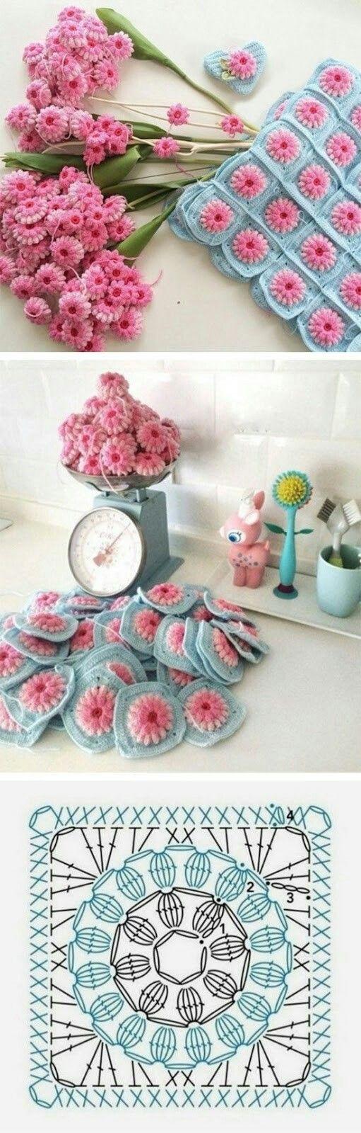 Super cute colors #crochet ~ Flor crochet patrones o motivo.