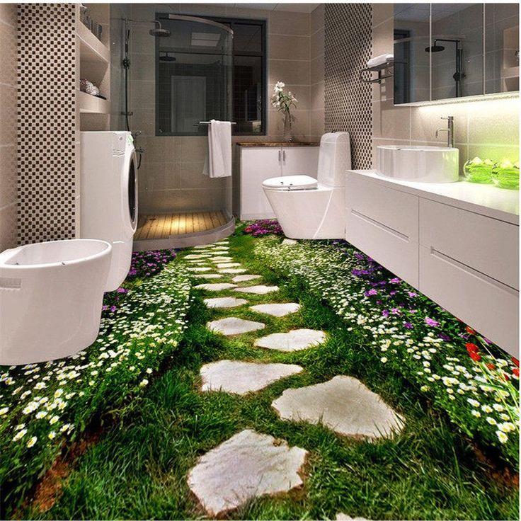 Custom Photo Floor 3D Wallpaper Modern Art River Stones Bathroom Floor Mural 3D …