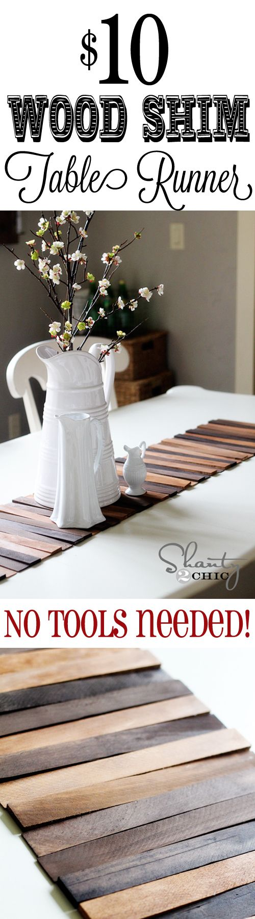 Easy DIY Wood Table Runner... Just need a hot glue gun, a drop cloth, varnish, and wood shims from the hardware store!!!