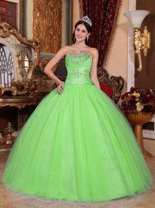 Simple Style Taffeta Tulle Beaded Spring Green Sweet 16 Dresses
