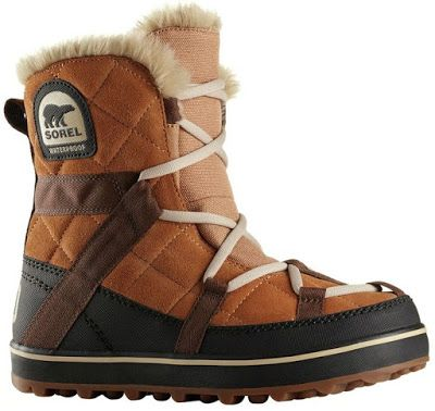 The Sorel Glacy Explorer Shortie Boot for women features a lace-up quilted boot in waterproof construction featuring webbing overlays and a warm fleece lining.   This cold weather boot is made from leather and fabric and it has a removable molded EVA footbed.