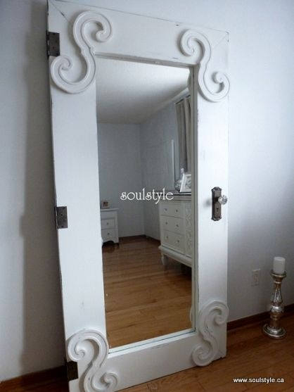 restyle an ikea floor length mirror to look like a vintage door frame. could use as door too.