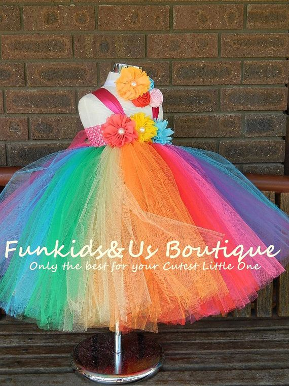 Tutu Vestido de arco iris completo longitud/vestido  vestido
