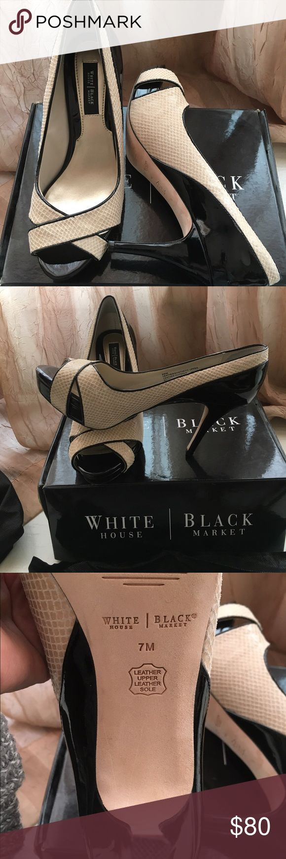 """White to Black Ladies Shoes Black Patten heel to back of shoe and cream snake top and around back. This is a gorgeous shoe. Worn once. Heel height 33/4""""  1/2"""" platform. Box and shoe covers. black to white  Shoes Heels"""
