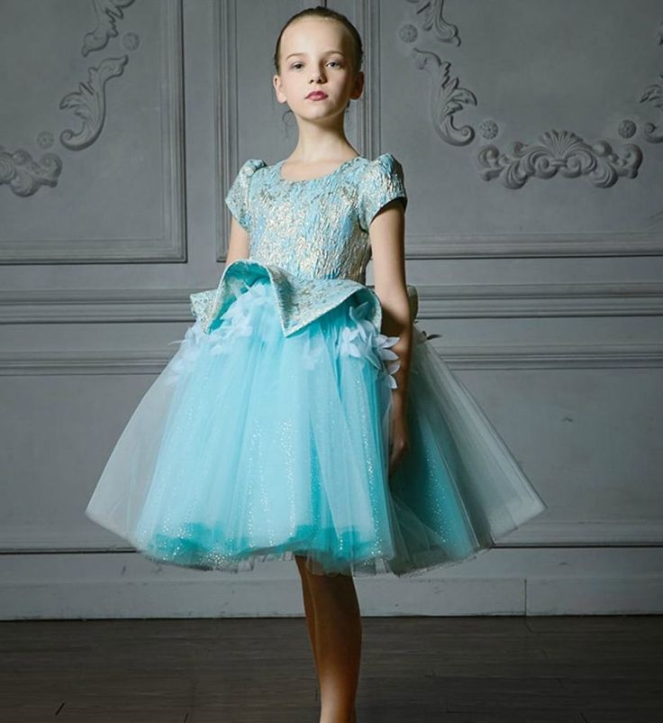 Jacquard Floral Dress--Made To Order - High Quality Elegant 3D Flower Applique Round Neckline Cap Sleeve Tea/Knee Length Little & Big Girl Tutu Dress. Perfect for Birthday Party, Wedding or any special day. Available from 4 until 15 years old. Material: Cotton, jacquard fabric, tulle mesh. Color: Sky blue with a touch of gold thread. Please do compare your  little girl measurements with our size chart.
