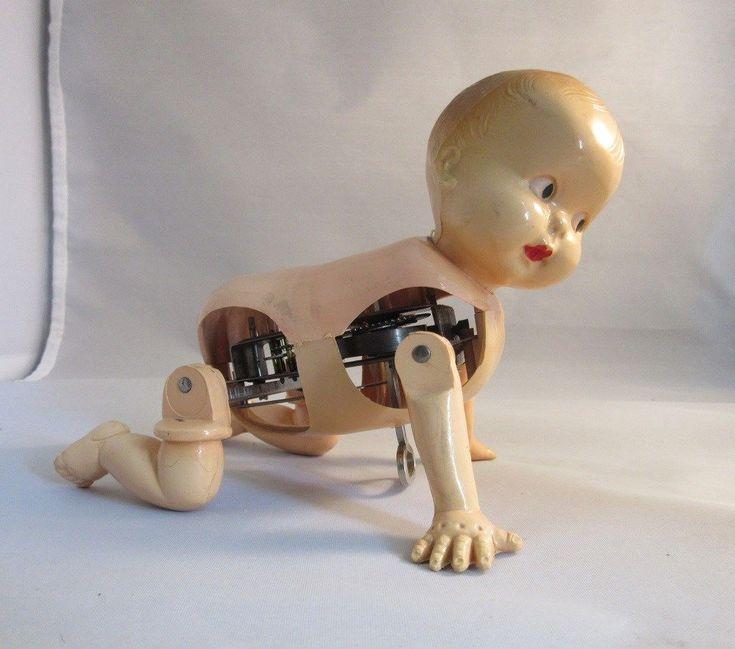 Vtg 1940's,50's Irwin mechanical crawling creepy baby doll ...