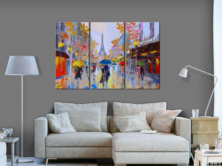 Tableau triptyque Paris sous la pluie - Tour Eiffel, parapluies, promenades romantiques - cadre murale pleine de couleurs