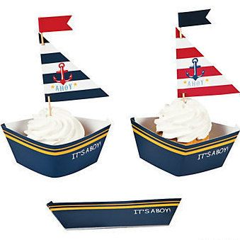 Sailboat Cupcake Holders; Nautical Cupcake Holders; Boat Decorations; Baby Shower; Under the Sea Theme; Ships Ahoy It's A Boy Theme; Favors