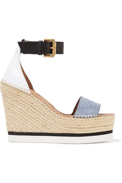SEE BY CHLOÉ | Denim and leather espadrille wedge sandals #Shoes #Espadrilles #Wedges #SEE BY CHLOÉ