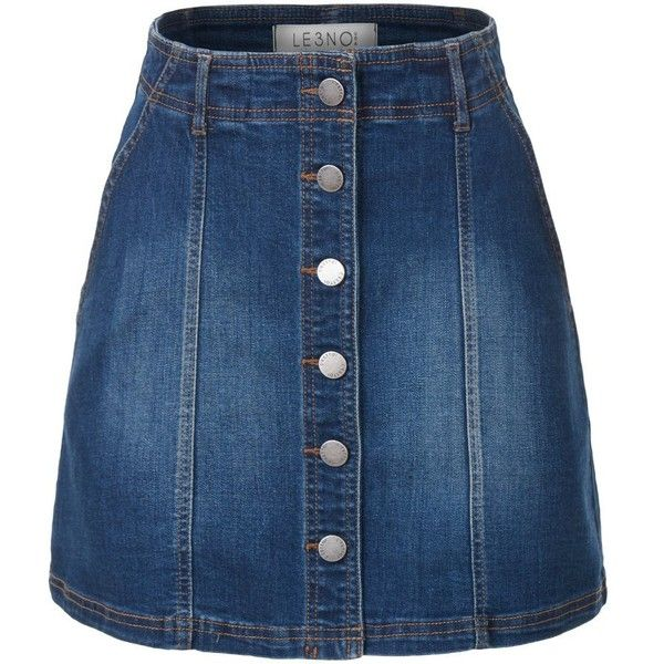 LE3NO Womens Button Down Denim Mini A-Line Skirt with Pockets (£16) ❤ liked on Polyvore featuring skirts, mini skirts, bottoms, saias, denim mini skirt, button down denim skirt, denim miniskirt, short skirts and blue denim skirt