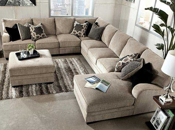 Ashley Furniture:Cosmo- marble 3 piece, RAF sectional sofa Chaise, armless  love seat & sofa For the basement family room