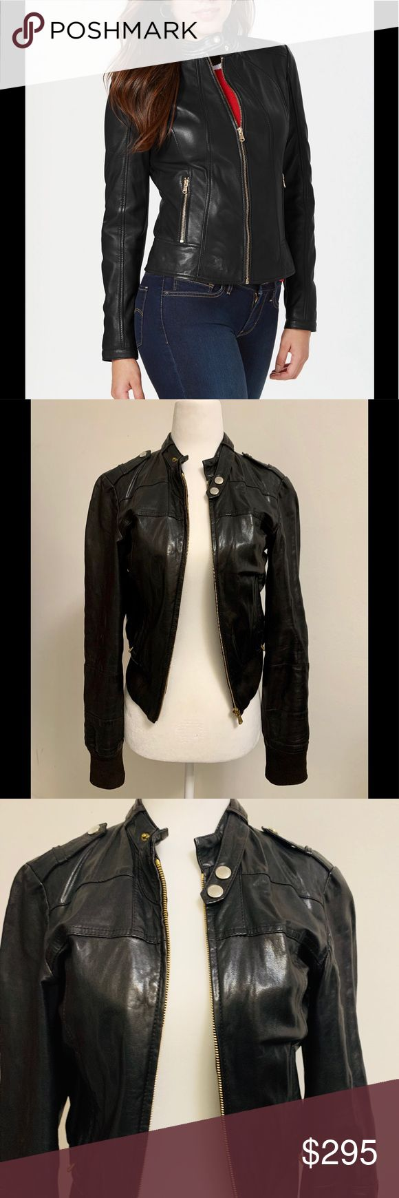 Vintage Hugo Boss Women's Moto Leather Jacket Leather