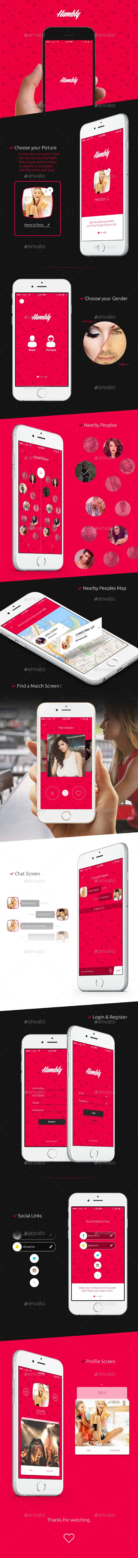 Humbly - Dating Mobile App User Interface Design Template PSD #design #ui Download: http://graphicriver.net/item/humbly-dating-mobile-app-ui-design/13134265?ref=ksioks