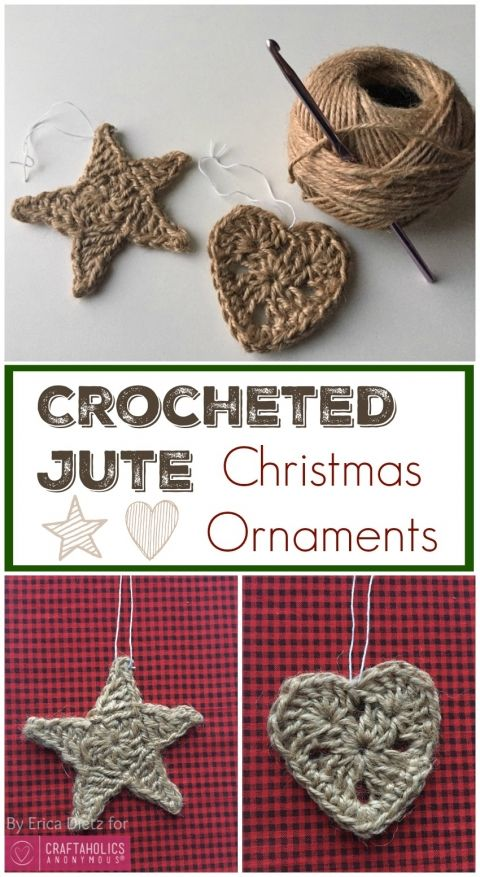Crocheted Jute Christmas Ornaments More
