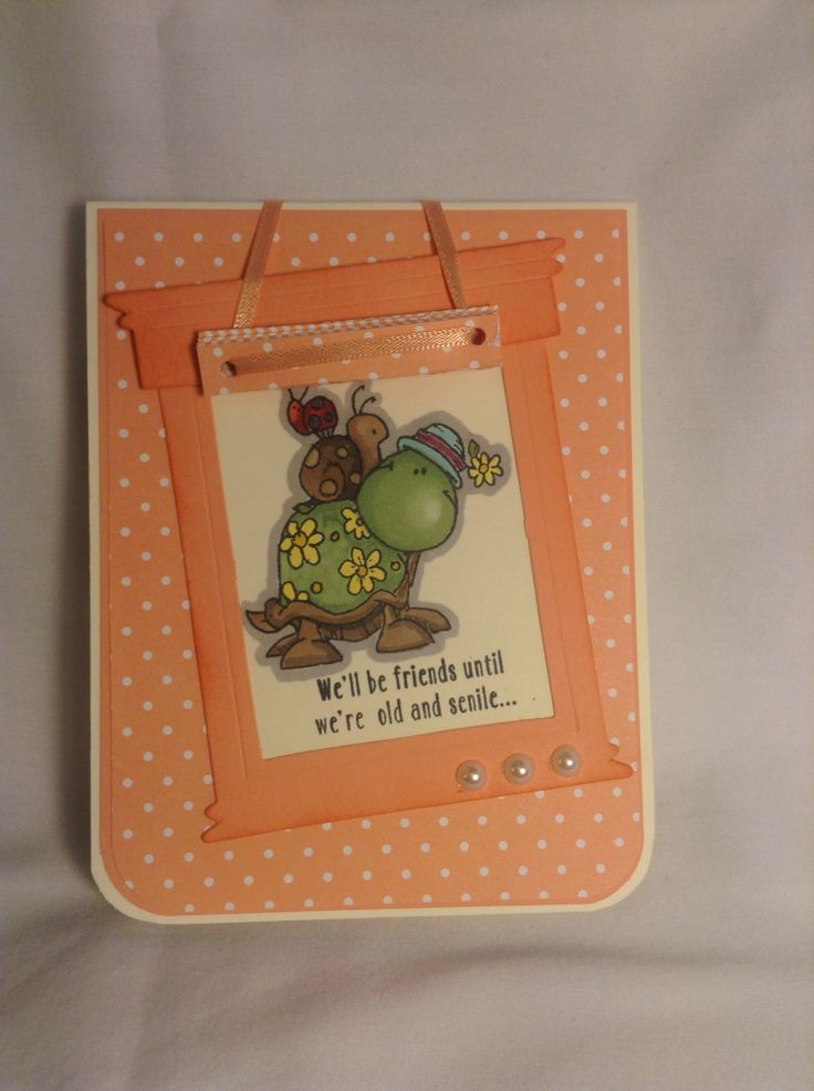"""Another window/drapery card. Inside says """"then we'll be new friends"""""""