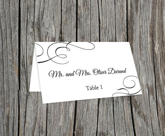 Sample Printable Editable Wedding Place Cards Diy Black