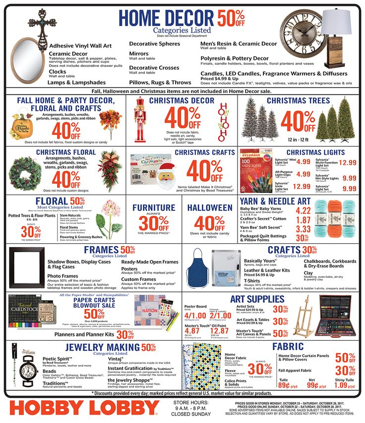 Hobby Lobby Weekly Ad - Prices Good through October 28th 2017