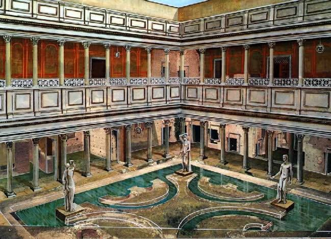 Artist 39 s reconstruction of the domus augustana on the for Domus green