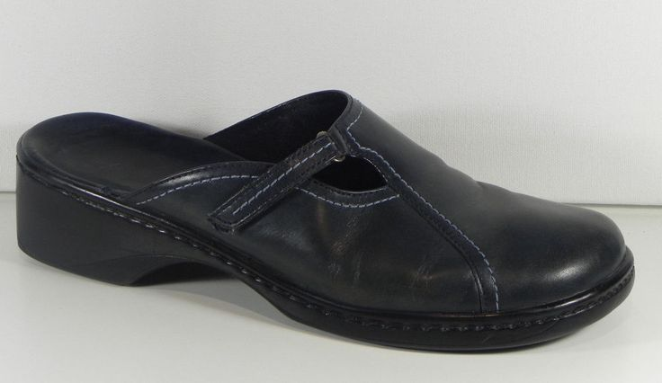 Clarks Navy Blue Leather Slip On Clogs Open Back Shoes