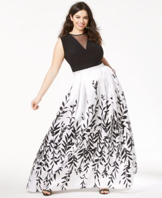 9510a07b068 Morgan   Company Trendy Plus Size Printed A-Line Gown