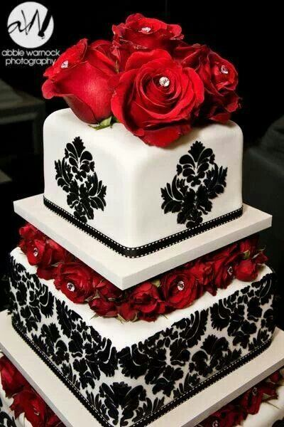 Cake Ideas With Red Roses : Beautiful red and black cake Cakes Pinterest Cakes ...