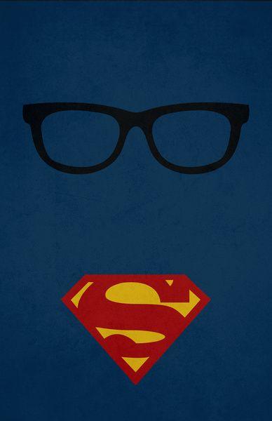 "clark kent vs. superman. - minimalist superhero art - For decorating the ""geek room""."