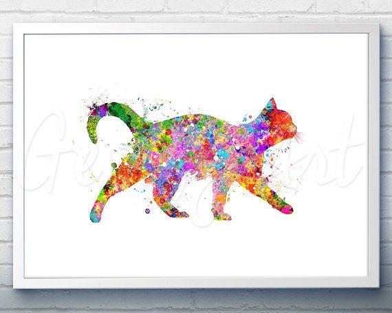 Cat Watercolor Art Print  - Watercolor Painting - Cat Watercolor Art Painting - Cat Poster - Home Decor - House Warming Gift [4]