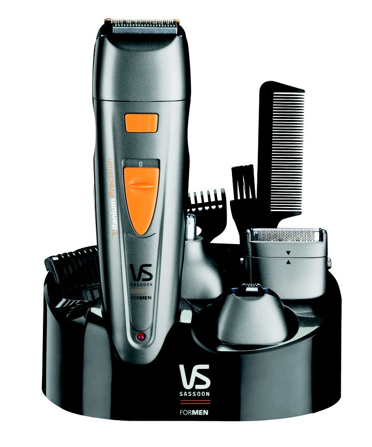 Metro™ Titanium Precision Deluxe - 12 Piece all-in-1 Grooming System - RRP$34.95  VS7053A  A complete grooming system with titanium blade technology & 5 position adjustable comb guides for all types of body grooming & facial hair trimming.  http://www.vssassoon.com.au/products/mens/VS7053A.aspx