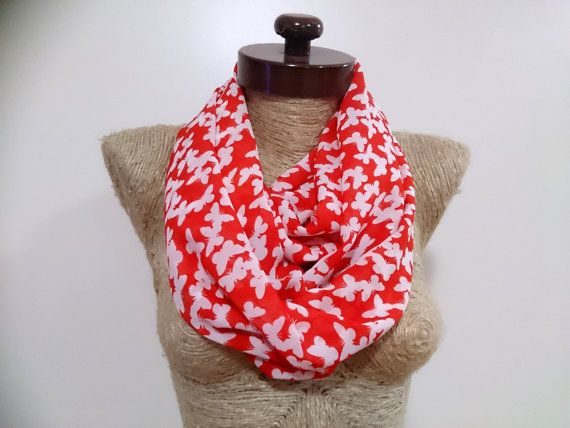 NEW red scarf chiffon infinity butterfly print scarf by AtlasScarf