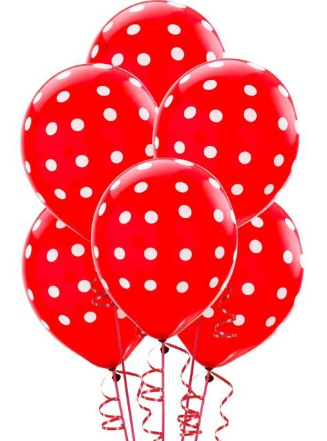 Latex Red Polka Dots Printed Balloons 12in 6ct - Party City...for Aubree's Minnie Mouse party :)