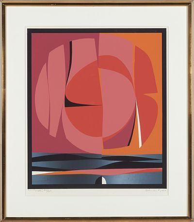 GUNNAR S. GUNDERSEN FORDE 1921 - BÆRUM 1983  Composition in pink and orange, 1969  Fargeserigrafi, 214/250. 52x46 cm  Signed and dated lower right: Gunnar S -69