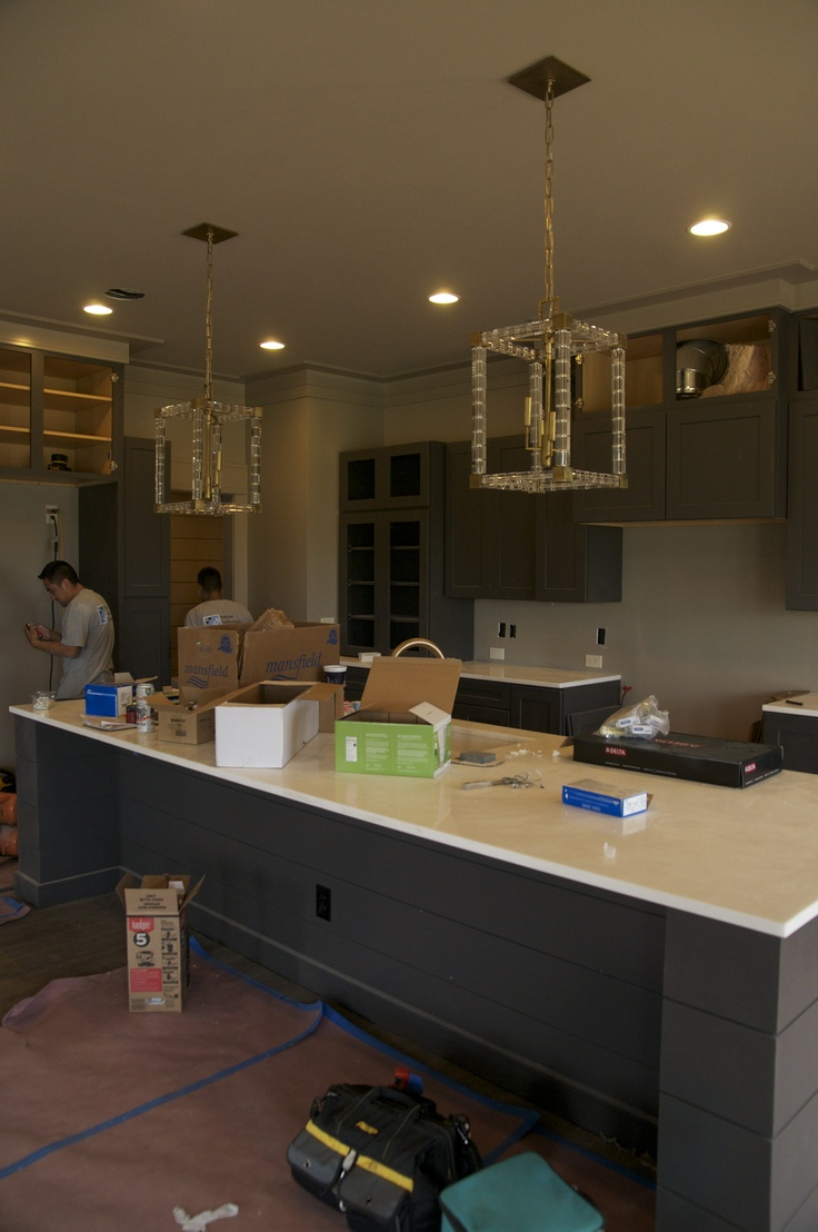 More paint colors from the uv parade of homes my favorite home - Masculine Coastal Kitchen In Restoration Hardware Flint Paint With Brass Lighting Rh Parade Of Homes
