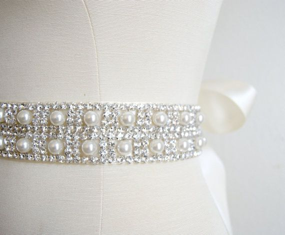 Pearl and Crystal Bridal Sash in Ivory ESTELLE by VenustBridal, $176.00