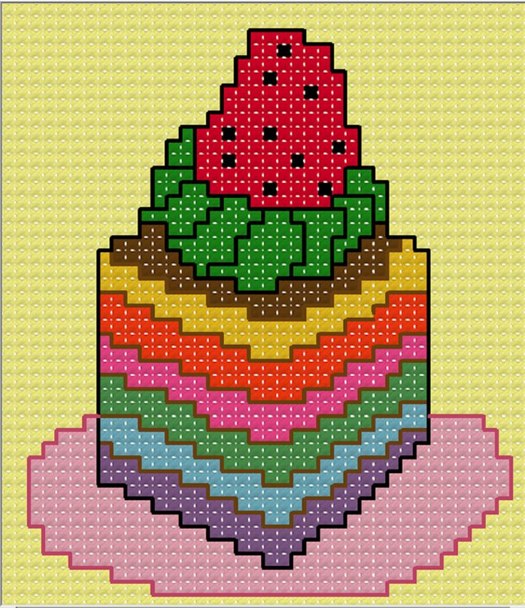 FREE CROSS STITCH PATTERN : Rainbow Cake