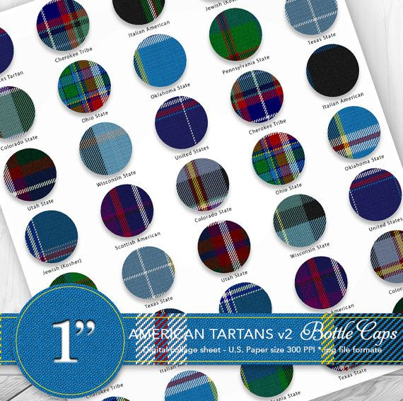 Bottle caps 1 clipart/American tartans US by CornucopiaArtDesign