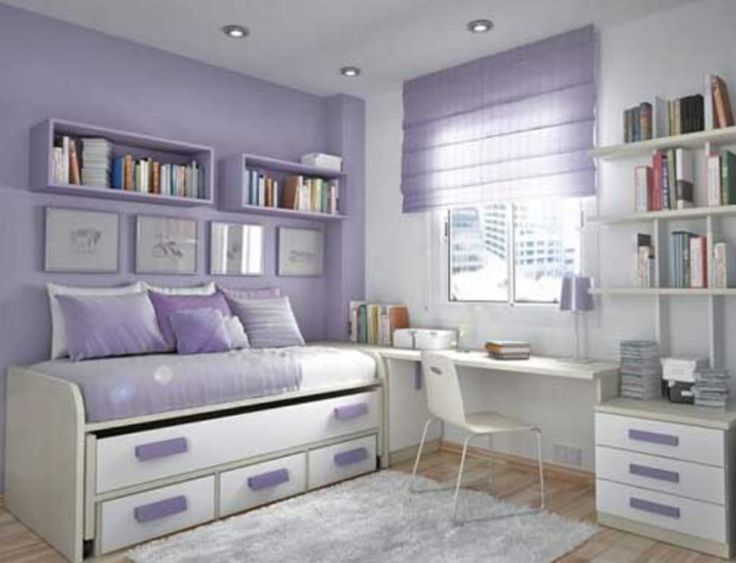 Teenage Girl Bedroom Paint Ideas : Teenage Girls Room Decorating With Purple And White Bunkbed Complete With Purple Wall Shelves With Books Also A White Rug Carpet Plus A White Study Table And Cute Purple Curtain