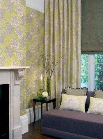 1000 images about citrine and grey on pinterest soapstone fabrics and living rooms for Lime green living room wallpaper