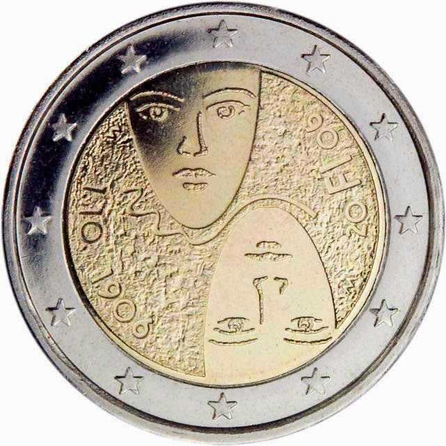 Finnish commemorative 2 euro coins, 100 years of universal and equal suffrage in Finland Commemorative 2 euro coins from Finland