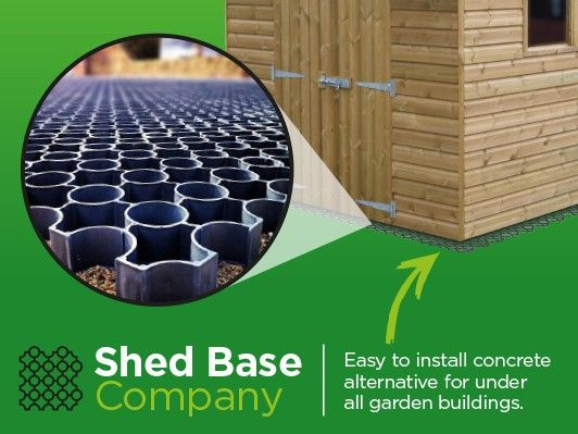 Interlocking Plastic Shed Base System for Garden Structures.