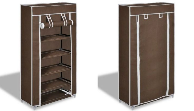 Brown Shoe Storage Unit 5 Tier Fabric Shoes Stand Lightweight Display Shelves