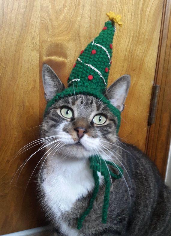 Conciati per le feste con questo adorabile gatto cappello! Questo albero di Natale gatto cappello in maglia a mano è sicuro di entrare nello spirito di vacanza della vostra famiglia in nessun tempo! Fatto di filato acrilico durevole, questo cappello è leggero un unstuffed ed è facilmente trasportabile sulla testa della media dimensioni gatto e cani di piccole taglia.  Desideri questo cappello in una dimensione diversa? Contattarmi per richiedere un ordine personalizzato.