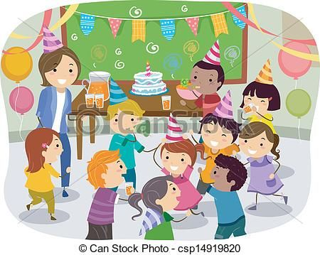 Vector - Stickman Kids School Birthday Party - stock illustration, royalty free illustrations, stock clip art icon, stock clipart icons, logo, line art, EPS picture, pictures, graphic, graphics, drawing, drawings, vector image, artwork, EPS vector art