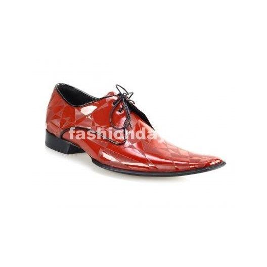 Pánske kožené extravagantné topánky červené - fashionday.eu