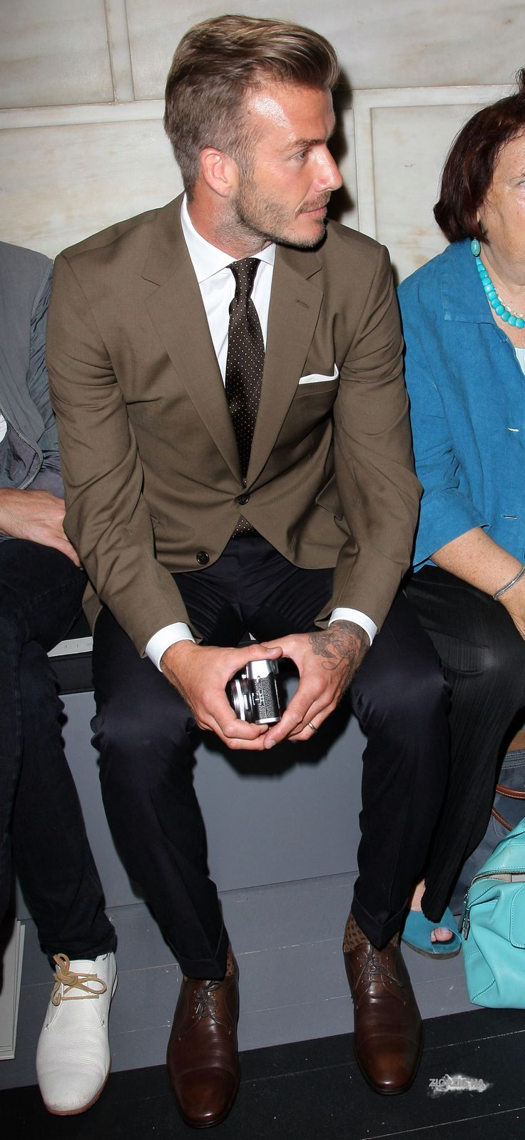 Great to see #davidbeckham in a jacket in one of his true Autumn palette colours, great contrast with dark jeans