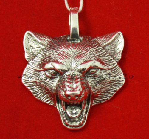 Growling-Wolf-Pendant-Necklace-solid-925-Sterling-silver-11g-Handmade-100-new