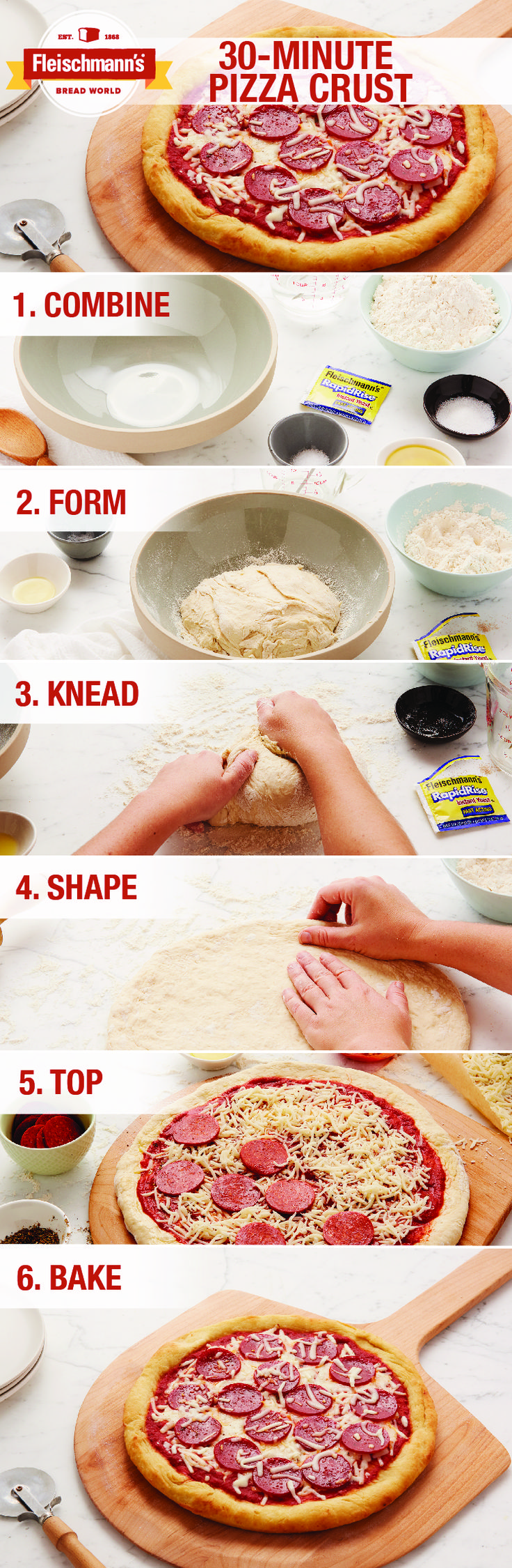 Making homemade pizza from scratch? Here's how to do it! This 30 Minute Pizza Crust recipe is the perfect dough to have dinner ready in almost no time.