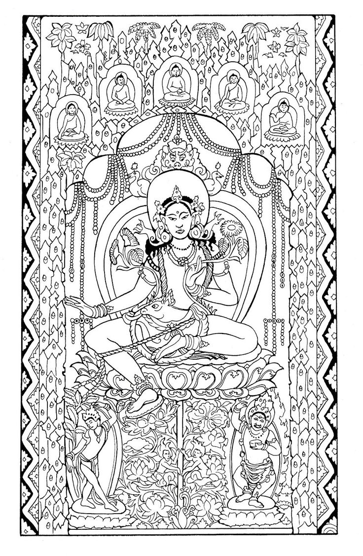 India coloring pages for adults - Free Coloring Page Coloring Adult Silk Tapestry Green Tara Early