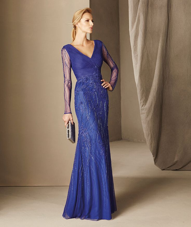 Bohemia - Mermaid maid of honor dress with embroidery and gemstones with a V-neckline